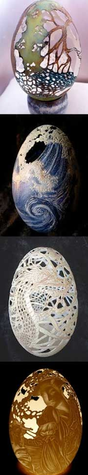 French sculptor Christel Assante uses the naturally delicate qualities of eggshells to create her sculptures. Assante works mostly with quail and goose eggs. Each egg takes her about 3 to 4 days to sculpt. The eggs are then lit with a small bulb placed inside through a hole in the bottom.