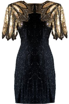 Winged Warrior Dress: Features amazing gold leaf shoulder accents comprised of thousands of miniature beads and sequins, large teardrop cutout to the backside, and top-to-bottom swirled tonal beading to finish.