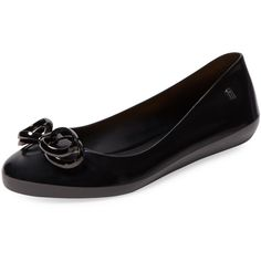 Melissa Color Feeling Ballet Flat (86 CAD) ❤ liked on Polyvore featuring shoes, flats, black, ballet flat shoes, melissa flats, black skimmer, melissa shoes and black flats