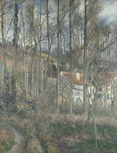 Pissarro, The Côte des Boeufs at L'Hermitage: the pigment analysis shows an intricate use of colour with subdued tonalities and few strong accents.