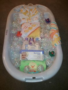 Bath time gift basket for baby shower.
