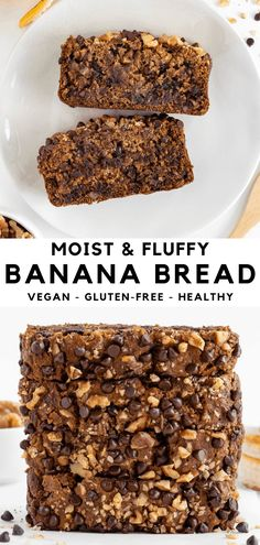 This vegan gluten-free banana bread is easy, fluffy, and incredibly moist! It's made with one bowl and 10 ingredients including oat flour and coconut oil. Toss in your favorite mix-ins like chocolate chips and walnuts, too! #bananabread #veganbananabread #vegan #glutenfree #banana #bananas #oatflour Gluten Free Banana Bread, Vegan Banana Bread, Banana Bread Recipes, Vegan Breakfast Recipes, Brownie Recipes, Raw Food Recipes, Free Recipes, Dessert Recipes, Dairy Free Snacks
