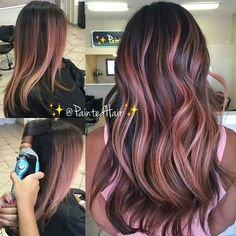 @paintedhair Rose gold balayage