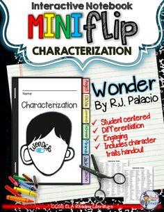 Wonder, by R.J. Palacio: Interactive Notebook Characterization Mini Flip ($)