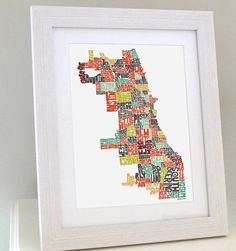 Chicago 8x10 Typography Map Art Print  signed by joebmapart