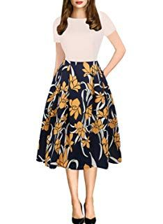 56aecccec5 oxiuly Women s Vintage Patchwork Pockets Puffy Swing Casual Party Dress  OX165 Floral Dresses With Sleeves
