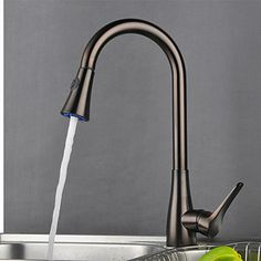 Traditional One Hole Single Handle Deck Mounted Rotatable Pull out Spray Kitchen Faucet Oil-rubbed Bronze At FaucetsDeal.com