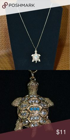Gold tone turtle necklace with rhinestones 32 in chain Gold tone necklace Palqma Ellie  Jewelry Necklaces