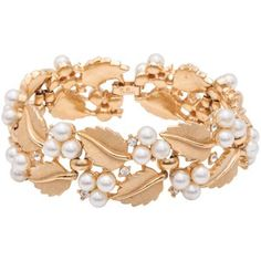 Susan Caplan Vintage 1960s Trifari Gold Plated Pearl Swarovski Crystal Bracelet, Gold style=