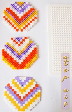 Ironed bead Chevron Coasters by Jess. Three designs: top two one side pressed, bottom both sides ironed.