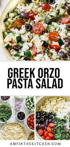 This Greek Orzo Pasta Salad recipe is made with fresh ingredients. It's a healthy pasta recipe that is full of bold flavors like olives, feta cheese and fresh herbs. Quick Pasta Recipes, Pasta Dinner Recipes, Pasta Salad Recipes, Free Recipes, Healthy Pastas, Healthy Side Dishes, Healthy Recipes, Greek Orzo Pasta Salad Recipe, Easy Summer Meals