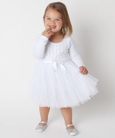 Another great find on #zulily! White Rosette Tutu Dress - Infant & Toddler #zulilyfinds