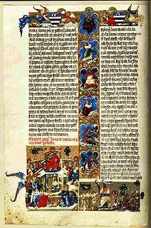 Nekcsei biblia egy lapja A Nekcsei-biblia lényegében egy kétkötetes Szentírás. 1330 körül Hertul mester királyi festő festette, az Aba nemzetséghez tartozó Nekcsei Demeter (†1338) számára, aki I. Károly tárnokmestere volt 1315-1338 között.