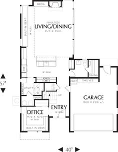 Modern Style House Plan - 2 Beds 2.5 Baths 1899 Sq/Ft Plan #48-571 Floor Plan - Main Floor Plan - Houseplans.com