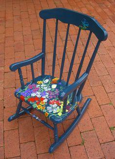 painted dresser art | child s rocking chair back