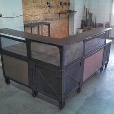 Real Industrial Edge Furniture: Reception desks www. Industrial Office Desk, Industrial Design Furniture, Rustic Office, Rustic Furniture, Home Furniture, Furniture Design, Luxury Furniture, Furniture Ideas, Office Waiting Rooms