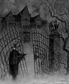 m Vampire This is the way, step inside. Dark Gothic, Victorian Gothic, Victorian Vampire, Gothic Horror, Horror Art, Dark Fantasy, Fantasy Art, Beautiful Dark Art, Dark Artwork