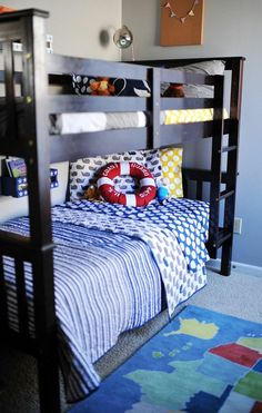 nautical inspired shared boys bedroom.