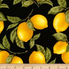 Timeless Treasures Tossed Lemons Black Fabric By The Yard Michael Miller, William Morris, Vitamin C, Timeless Treasures Fabric, Lemon Print, Patchwork Fabric, Fruit Art, How To Squeeze Lemons, Food Themes