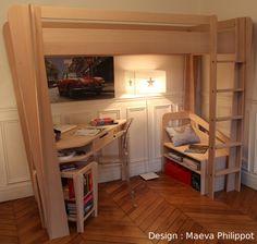 Lit mezzanine CITY, avec son grand bureau et ses caissons, plus d ...