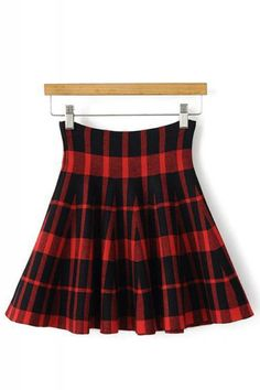Super Cute Red and Black Plaid High Waist Knit Winter Skirt