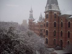 A snow-covered Old Main at Baylor University
