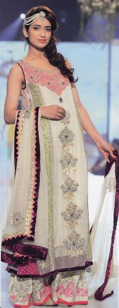 Buy Off-White Embroidered Crinkle Chiffon Party Dress by PakRobe.com Contact: (702) 751-3523 Email: info@pakrobe.com Skype: PakRobe