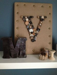 Teen Bedroom Decor/Steel Letter and Vintage buttons Art , Burlap Pincushions part of Eco Couture Collection by Melister Padilla