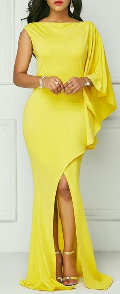 Yellow One Sleeve Front Slit Maxi Dress. Yellow One Sleeve Front Slit Maxi Dress. Yellow Maxi Dress, Sexy Maxi Dress, Maxi Dress With Sleeves, Sexy Dresses, Prom Dresses, Wedding Dresses, One Sleeve Dress, Dress Prom, Dress Casual