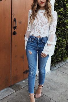 Sexy Fashion Lace Long Sleeve Shirt – You can find Lace tops and more on our website. Bluse Outfit, Outfit Jeans, Sheer Lace Top, Lace Tops, Lace Blouses, Sheer Tops, White Lace Blouse, Lace Top Outfits, Casual Outfits