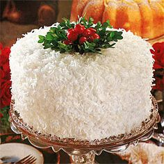 Coconut-Lemon Cake by Southern Living. This Coconut Lemon Cake is a classic Christmas white cake in every way, with three golden yellow layers and fluffy seven-minute frosting. Christmas Sweets, Christmas Goodies, Christmas Baking, Christmas Tea, Elegant Christmas Desserts, White Christmas, Christmas Buffet, Christmas Cover, Beautiful Christmas