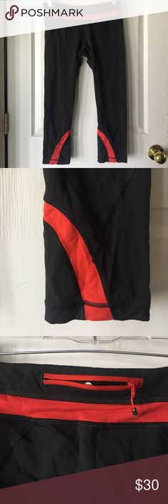 Lululemon cropped leggings! Black with red detailing! Good condition, only worn a few times! lululemon athletica Pants Leggings