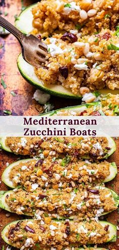 Mediterranean Zucchini Boats are a flavorful and balanced vegetarian dinner. Zucchini is stuffed with spiced quinoa, sun dried tomatoes, chickpeas, kalamata olives and feta then baked until tender. It's perfect for a weeknight dinner and great for meal prepping! #zucchini #zucchiniboats #quinoa #healthydinner #mediterraneandiet #vegetariandinner #healthyrecipes #medierranean #mealprep