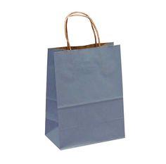 Country Blue 12 Pcs Shadow Stripe Handle Kraft Bags Kraft