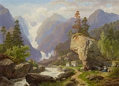 View Norwegisches Gletschertal by Georg Eduard Otto Saal on artnet. Browse upcoming and past auction lots by Georg Eduard Otto Saal. Watercolor Landscape Paintings, Landscape Art, Amber Tree, Pictures Of Jesus Christ, Western Landscape, Moving Water, Antique Books, Waterfall, Fine Art