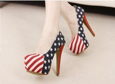 Sexy Abendschuhe Stiletto Disko Party Pumps High Heels mit USA Flagge