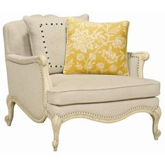 Schnadig Caracole Upholstery Savior Faire Chair with Exposed Wood Accents - AccentChairDealers.com