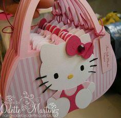 cute little hello kitty bag invite. Hello Kitty Baby Shower, Hello Kitty Theme Party, Hello Kitty Themes, Hello Kitty Gifts, Hello Kitty Purse, Hello Kitty Cake, Hello Kitty Invitations, Cat Party, 3rd Birthday Parties