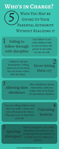 Who's in Charge? 5 way you may be compromising your own authority as a parent. Infographic linked to full post. | Mom but not a Mom