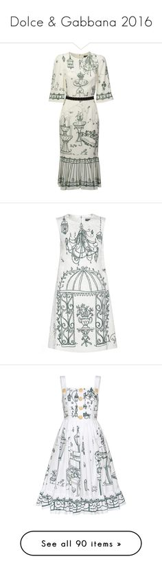 """Dolce & Gabbana 2016"" by sella103 ❤ liked on Polyvore featuring dresses, giardino fdo panna, floral pattern dress, floral day dress, elbow length sleeve dress, white button dress, zipper dress, white, white jacquard dress and jacquard dress"