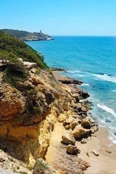 Cala Fonda beach, in Tarragona, Spain