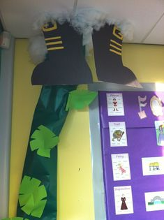 Classroom decoration idea -- Fairy tale unit -- Jack and the Beanstalk -- Vine growing up wall to ceiling, clouds and giant's feet suspended from the ceiling.-- Too Cute!