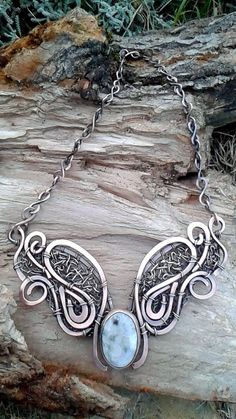 Fairy copper wire wrapped necklace with natural by Tangledworld
