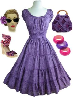 Purple bombshell peasant sundress with tiers of ruffles