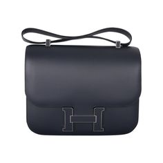 LIMITED EDITION HERMES CONSTANCE CARTABLE Blue OBSCURE HARDWARE SUPERSIZE | From a collection of rare vintage handbags and purses at http://www.1stdibs.com/fashion/accessories/handbags-purses/