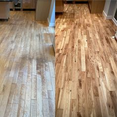 Before and after of this solid french oak wood flooring, it always takes me by surprise with every restoration project we complete on how amazing the finish turns out. Refinishing Hardwood Floors, Wood Flooring, Wood Floor Restoration, Wood Finishing, Floors And More, French Oak, Home Remodeling, House Ideas, New Homes