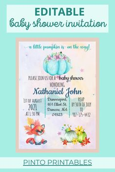 A little pumpkin on the way? What better way to celebrate the little one than with a festive Autumn Baby Shower! This Fall-Themed Baby Shower Invitation is the perfect way to get your family and friends together for the celebration. It is editable and can be personalized with your baby shower details. Just place your order, customize your design in 60 seconds, and print as many invites as you need. All in a high-quality design! Congratulations on your new baby!