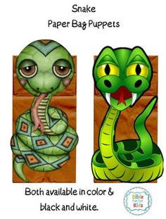 Snake paper bag puppets in color and black & white #Biblefun #creation
