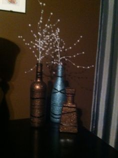 Wine bottle crafts - w/ metallic paint