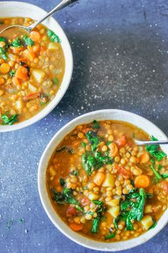 This vegan lentil soup recipe is hearty, healthy, and easy to make. It takes a little time to simmer, but it makes a large pot of delicious soup. Here's the deal with this soup - I've made many, many times and it's really important to season it liberally. Lentils are truly delicious, but they're ev